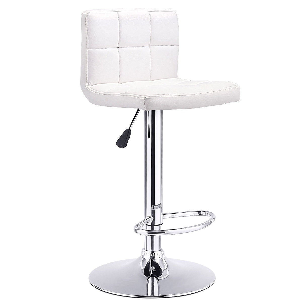 Surprising Costway 1 Pc Bar Stool Swivel Adjustable Pu Leather Barstools Bistro Pub Chair White Machost Co Dining Chair Design Ideas Machostcouk