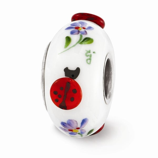 Sterling Silver Reflections White Hand Painted Lady Bugs Glass Bead
