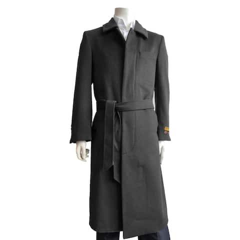 Mens Classic French Front Belted Overcoat