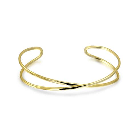 Criss Cross X Bangle Cuff Bracelet Gold Plated 925 Sterling Silver