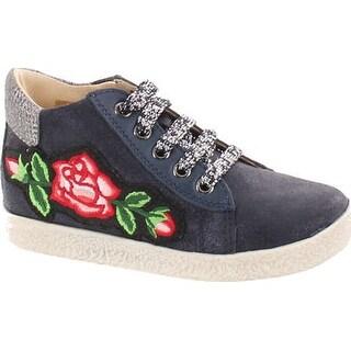 Falcotto Girls 1589 Lace Up Designer Flower Booties - glitter bleu