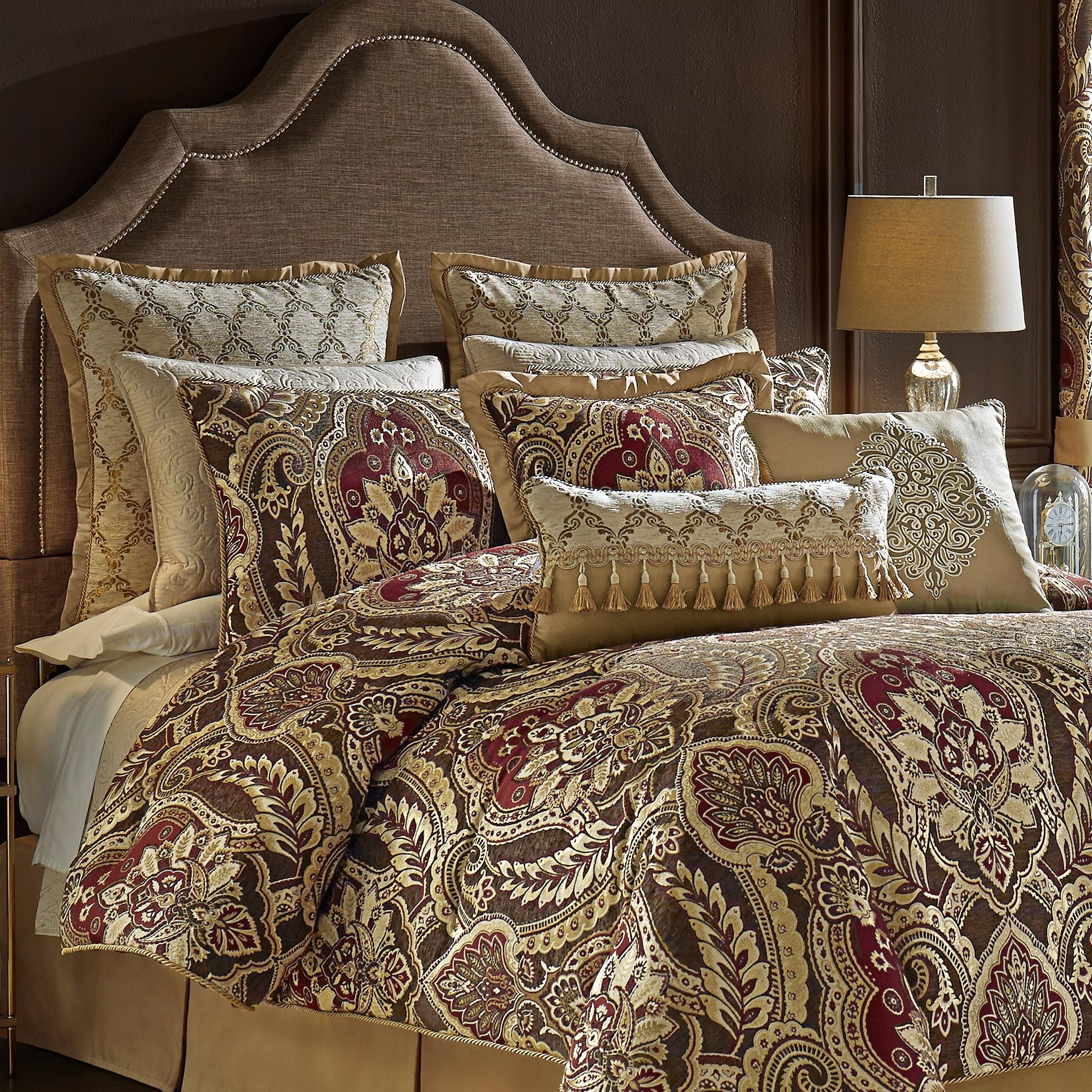 Shop Black Friday Deals On Croscill Julius 4 Pc Red Brown Gold Damask Bedding Set Overstock 29901662