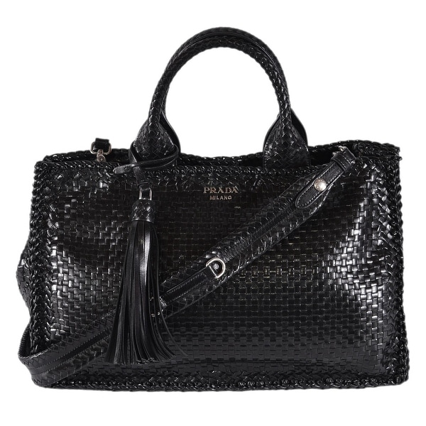 11b2c8ad9c Shop Prada 1BG125 Black Woven Leather 2-Way Madras Satchel Purse ...