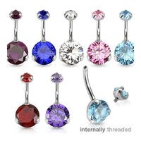 Prong Set Round CZ & Internally Threaded Prong Set CZ Top 316L Surgical Steel Navel Belly Button Ring
