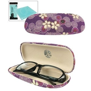 JAVOedge Cherry Blossom Print Eyeglass Clam Shell Style Case with Bonus Microfiber Glass Cleaning Cloth