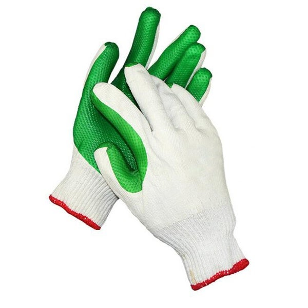 Work Universal Protection Cotton Yarn Glue Gloves - Green