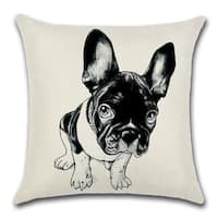 Cute Watercolor Print Black And White French Bulldog Decorative Throw Pillow Cover 18 X 18 Overstock 31456223