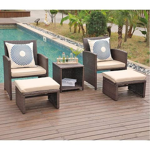 Outdoor 5-piece Wicker Seating Set with Cushions