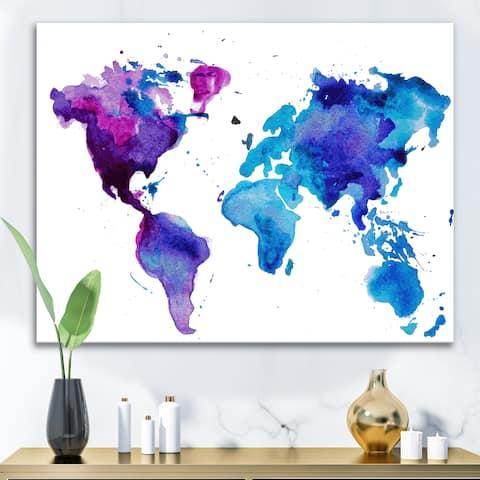 Designart 'Purple and Blue Map Of The World' Modern Canvas Wall Art Print