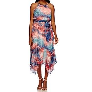 Sangria NEW Pink Women's Size 6 Printed Asymmetrical Hem Blouson Dress