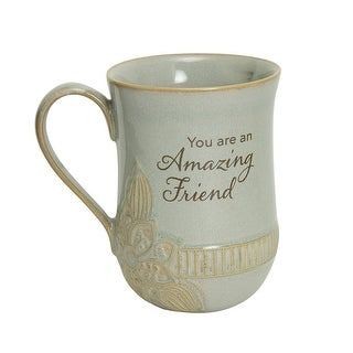 Link to Abbey and Ca Gift You Are an Amazing Friend Mug - 14 oz. Coffee Mug with Floral Accent, Taupe - 5 Inch x 3.5 Inch Similar Items in Dinnerware
