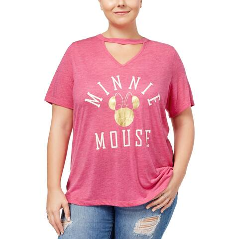 Disney Womens Plus Minnie Mouse T-Shirt Knit Printed - 1X