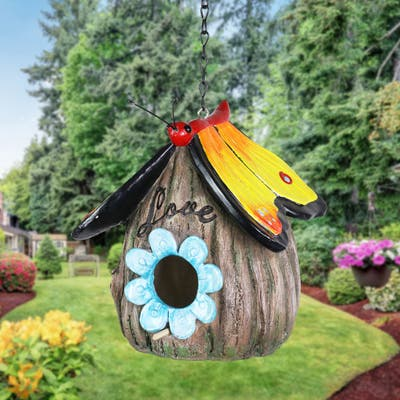 Exhart Butterfly Roof Love Acorn Hanging Bird House, 7 Inch
