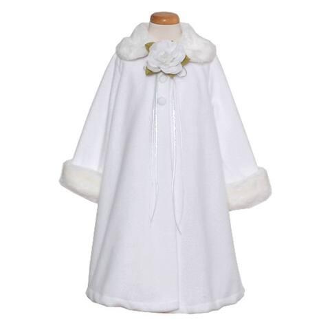 Kids Dream White Fleece Faux Fur Collar Cuff Stylish Coat Girls 4-12