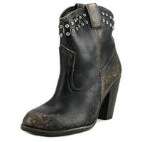 Frye Jenna Cut Stud Short-S Women  Round Toe Leather Black Mid Calf Boot