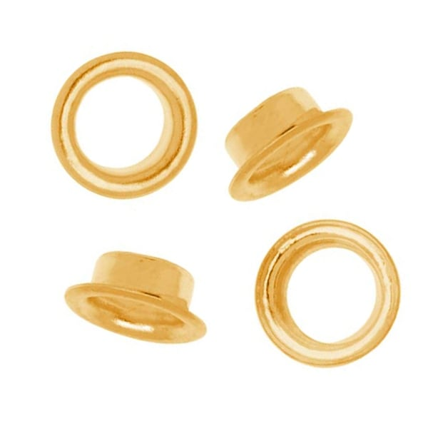 22K Gold Plated Round Grommets - Fits 5mm Bead Holes (100)