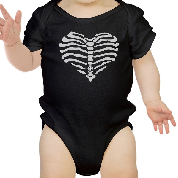 Heart Skeleton Bodysuit Baby Cute Graphic Black Bodysuit Halloween