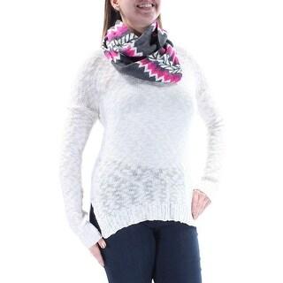 OH MG $27 Womens New 2267 Ivory W/scarf Long Sleeve Sweater L Juniors B+B