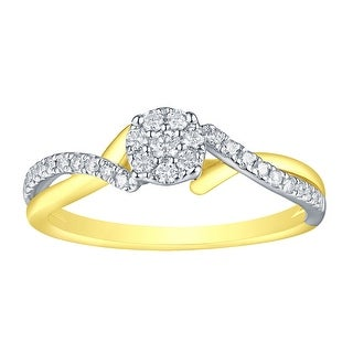Prism Jewel 0.27Ct G-H/SI1 Natural Diamond Two-Tone Gold Designer Engagement Ring - White G-H