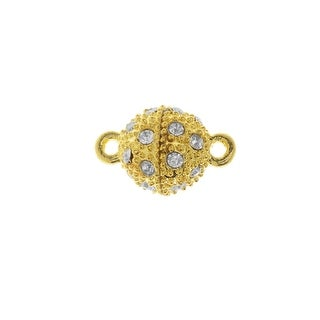 Magnetic Clasp, Beaded Sphere with Rhinestones 16x10mm, 1 Set, Gold Tone