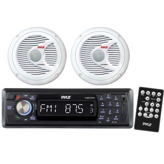"""In-Dash Marine Bluetooth Detachable Face Receiver USB/SD Inputs, Remote + 2x 6.5"""" 150W Speakers"""