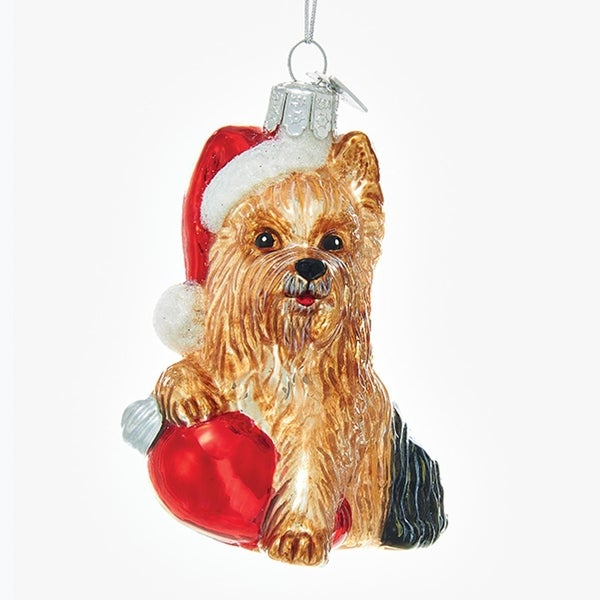"""3.5"""" Noble Gems Yorkshire Terrier in Santa Hat with Retro C7 Bulb Glass Christmas Ornament"""