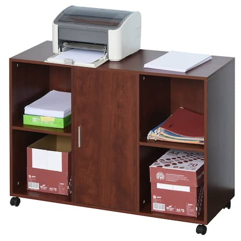 Vinsetto Printer Stand With 360 Degree Casters Multifunctional Office Cabinet Mobile File Cabinet P2 Particle Board