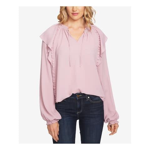CECE Womens Purple Ruffled Blouse Wear To Work Top Size: XL
