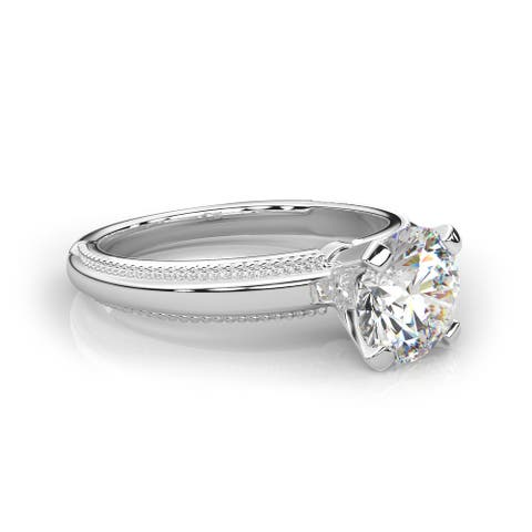 IGI Certified 3/8 CT-2.00 CT Lab Grown Beaded Frame Classic Solitaire Engagement Ring in 14KT Gold