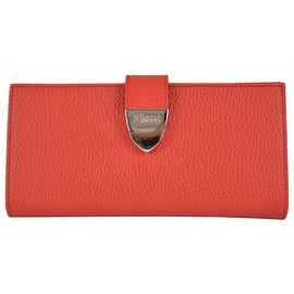 Gucci 231837 Coral Red Leather Signoria Buckle Continental Wallet