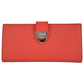 New Gucci 231837 Coral Red Leather Signoria Buckle Continental Wallet