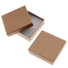 Kraft Brown Square Cardboard Jewelry Boxes 3.5 x 3.5 x 1 Inches (16)