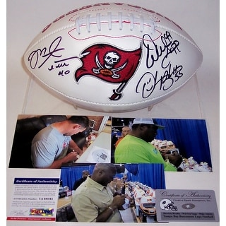 Mike Alstott, Derrick Brooks & Warren Sapp Autographed Hand Signed Tampa Bay Buccaneers Logo Football - PSA/DNA