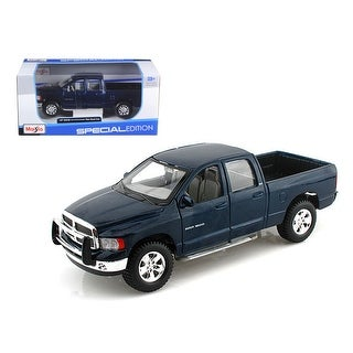 2002 Dodge Ram Quad Cab 4 Doors Pick Up Truck Blue 1/27 Diecast Model by Maisto