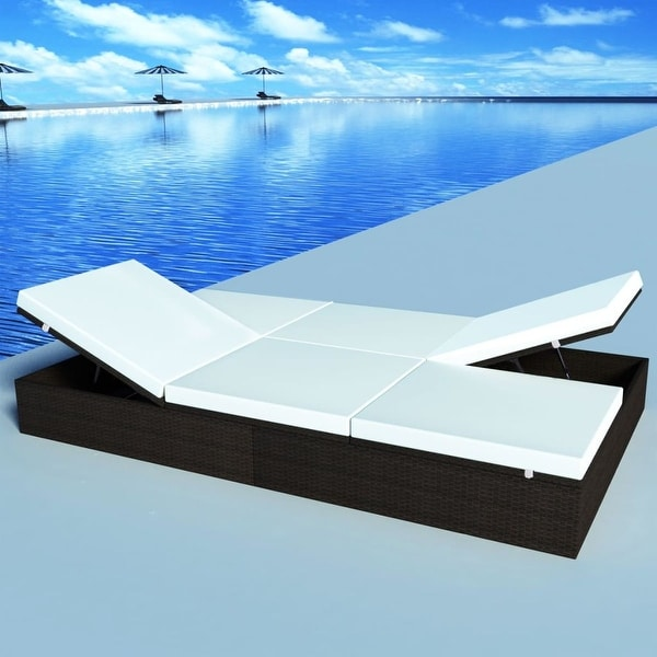 "vidaXL Double Sun Lounger with Cushion Poly Rattan - 76"" x 47"" x 12"""
