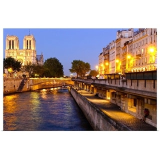"""Night View  Notre Dame"" Poster Print"