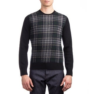 Moncler Men's Virgin Wool Crewneck Plaid Sweater Navy Blue
