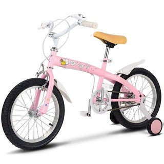 Goplus 12'' Kids Bicycle Bike Outdoor Sports With Training Wheels Bell Boys Girls Pink