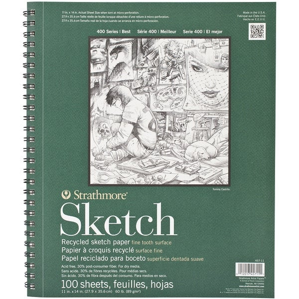 "Strathmore Recycled Sketch Paper Pad 11""X14""-60Lb 100 Sheets"
