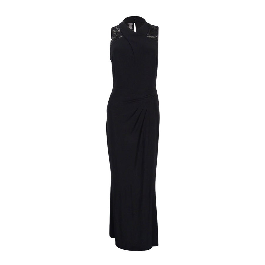 Lauren Ralph Lauren Womens Lace-Yoke Jersey Gown - Black