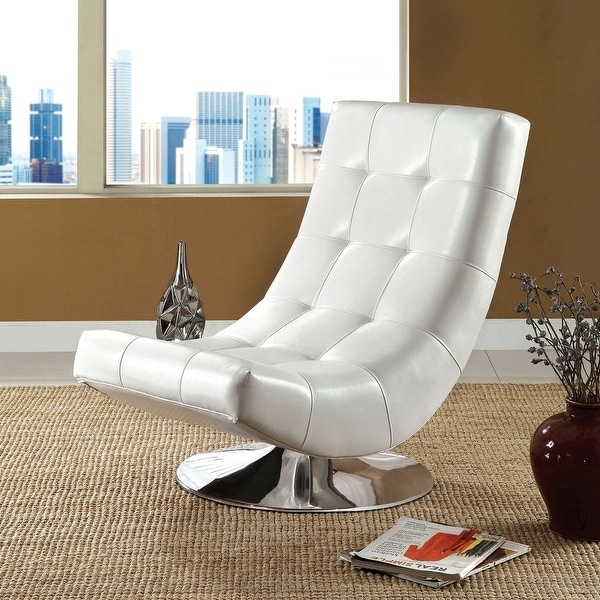 Furniture of America Poss Modern Faux Leather Swivel Chair. Opens flyout.