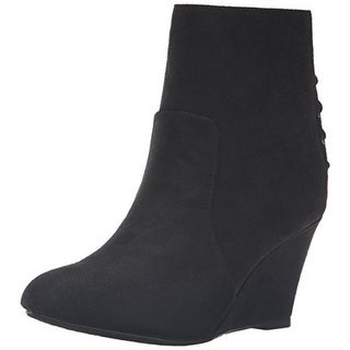 CL by Laundry Womens Valto Wedge Boots Faux Suede Ankle