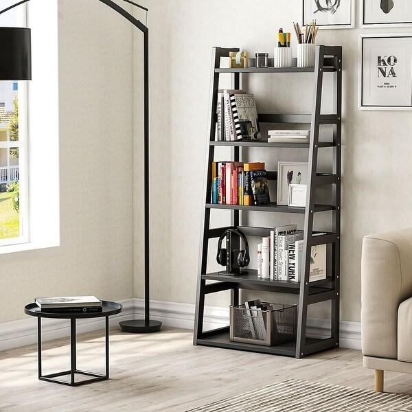 5-Tier Bookshelf, Free Standing Ladder Shelf, Ample Space for Storage