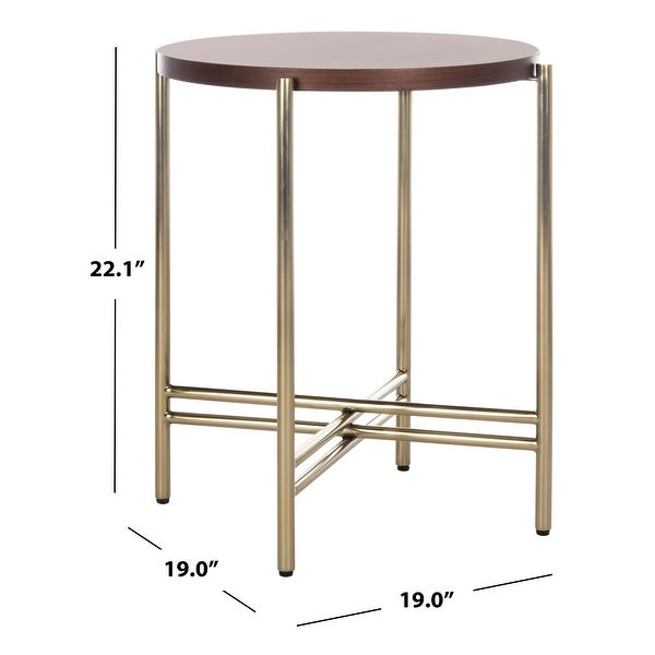 """SAFAVIEH Couture Cassie End Table - Natural / Gold - 19"""" W x 19"""" L x 22.1"""" H"""