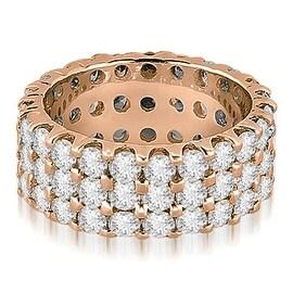 4.85 cttw. 14K Rose Gold Round Diamond Three Row Eternity Ring