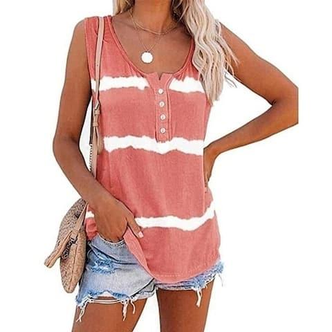 Womens Tie-Dye Scoop Neck-Henley Shirts Summer Loose Casual Sleeveless Tank Tops