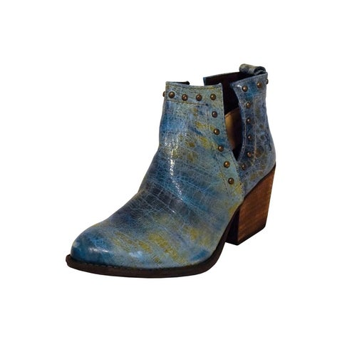 Ferrini Western Boots Women Round Toe On Ankle Turquoise