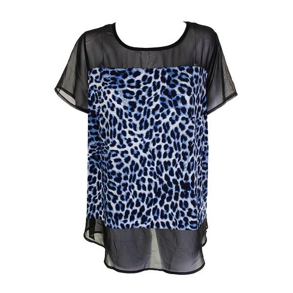 Shop Vince Camuto Plus Size Blue Black Leopard Illusion Mesh Blouse ...