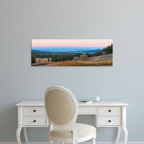 Easy Art Prints Panoramic Image 'Mountains, Togwotee Pass, Teton Range, Grand Teton National Park, Wyoming' Canvas Art
