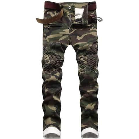 Men's Jeans Stretchy Ripped Denim Pants